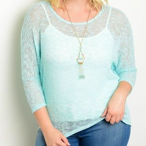 Tops - Mint plus size top with necklace